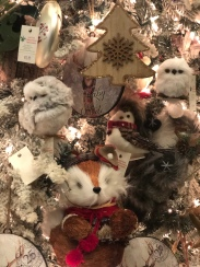 woodland creatures tree ornaments for sale at Santa's Christmas Tree Shop, Mattituck, owl, fox, bird