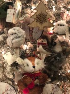 woodland creatures tree ornaments for sale at Santa's Christmas Tree Shop, Mattituck, owl, fox, bird