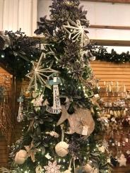 nautical themed Christmas Tree at Santa's Christmas Tree Shop, Mattituck, anchor, fish, stars