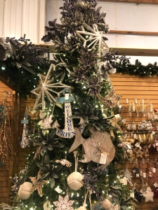 nautical themed Christmas Tree at Santa's Christmas Tree Shop, Mattituck, anchor, fish, stars