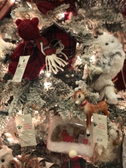 Tree ornaments on a white evergreen at Santa's Christmas Tree Shop, Mattituck, teddy bear, deer, owl