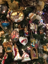 glass religious tree ornaments for sale at Santa's Christmas Tree Shop, Mattituck