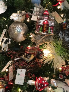 Glass ornaments on a tree for sale at Santa's Christmas Tree Shop, Mattituck