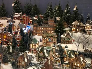 holiday village display at Santa's Christmas Tree Shop, Mattituck