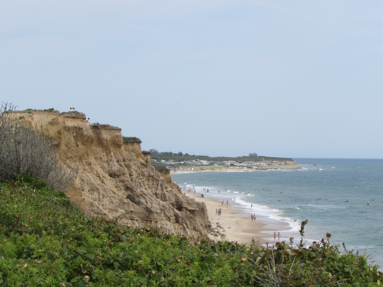 View of Ditch Plains Beach and the cliff above from Shadmoor trail, New York