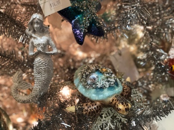 glass ornaments, sea turtle, mermaid, starfish at Santa's Christmas Tree Shop, Mattituck