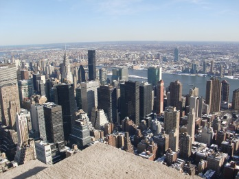 View NYC and East River from top Empire State Building, New York