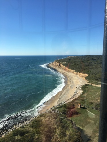 View of the Atlantic Ocean shoreline from the top of Montauk Lighthouse, New York