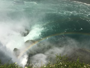 bottom of Niagara Falls, mist and rainbow, New York