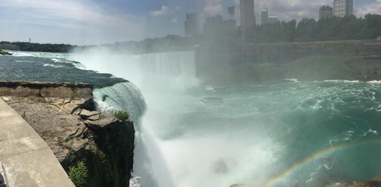 looking down at Maid of the Mist, rainbow, Niagara Falls, New York