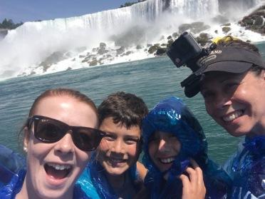 Family posing under American Falls, Niagara