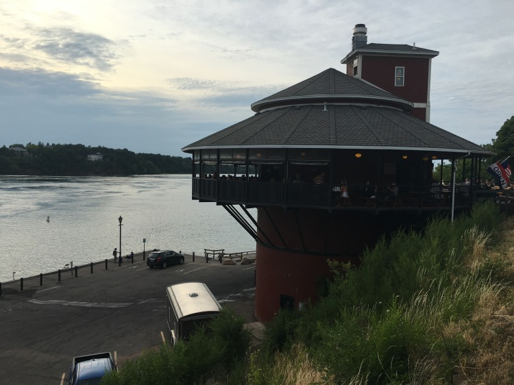 View of the Lewsiton Silo restaurant on the Niagara River, New York