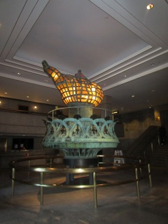 The original torch on display in the pedestal of Statue of Liberty, New York