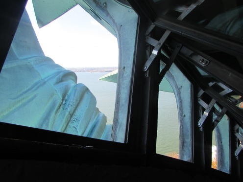 View looking out the windows of Statue of Liberty's Crown