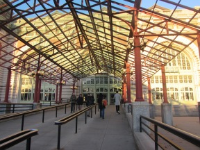 people walking into the entrance to Ellis Island Museum, New York