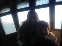 Siblings posing inside Statue of Liberty's Crown
