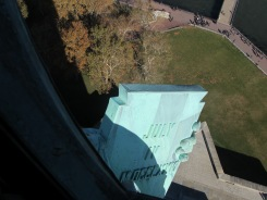 Looking down to the tablet, Statue of Liberty