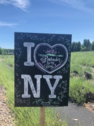 Lavender By the Bay field sign, I Love New York
