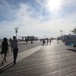 Walking down the Cooney Island Boardwalk, Brooklyn, New York