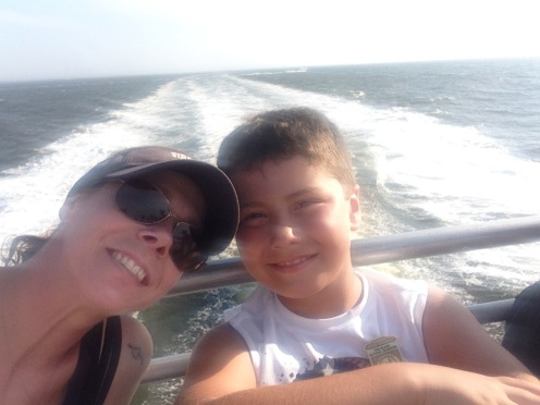 Mother and Son on the ferry, Bay, Fire Island