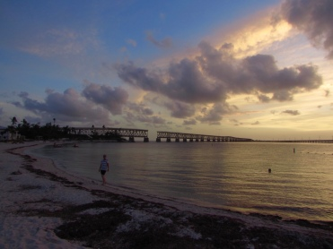 Sunset view of the Bahia Honda State Park beach and Old Rail Bridge, Florida