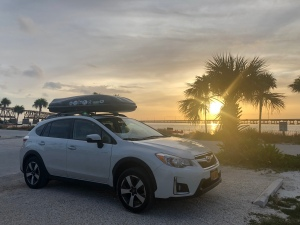 White Subaru Crosstrek at sunset with palm tree at Bahia Honda State Park, Florida