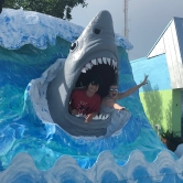 Shark emerging from water man-made display for photos with two people in the mouth on Vaca Key, Florida