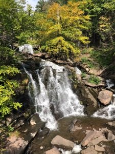 View of Bastion Falls in the forest from the upper roadway in Catskill Mountains, New York