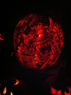 Dragon, carved pumpkin from Jack O Lantern Spectacular, Roger Williams Zoo, Rhode Island