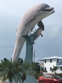 Giant man-made dolphin at Dolphin Research Center on Vaca Key, Florida