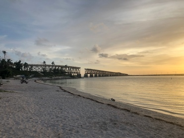Old Bridge Railroad from the beach at Bahia Honda State Park, Florida