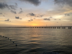 View of US1 across the water at sunset from Bahia Honda State Park, Florida