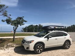 Subaru Crosstrek parked along US1 in Florida Keys, Atlantic Ocean side