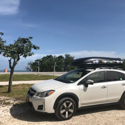 Subaru Crosstrek parked along US1 in Florida Keys, Atlantic Ocean side