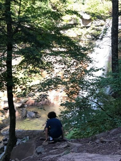 Boy overlooking the pool at the bottom of Kaaterskill Falls, Catskill Mountains, New York