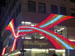 Salvatore Ferragamo NYC building facade holiday lights