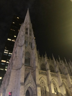 St. Patrick Cathedral Spires at night in NYC