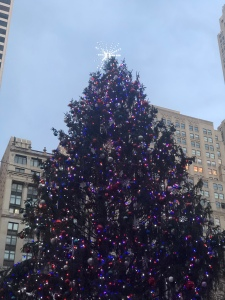 Christmas Tree all lit up at Bryant Park's Winter Village, NYC