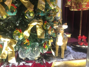 Saks Fifth Avenue NYC window display baby deer under the Christmas Tree