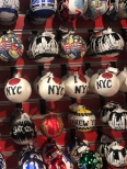 Festive ornaments with NYC theme at kiosk in Bryant Park Winter Village, NYC
