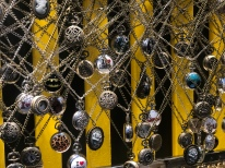 Pocket Watches designed by local artisan hanging for sale in Bryant Park holiday village kiosk