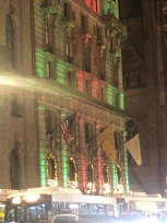 Holiday lights shining on the Penninsula Hotel in NYC