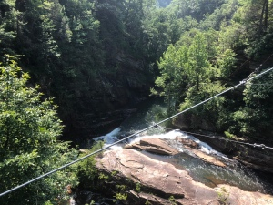 View of iver and gorge from suspension bridge at Tallulah Gorge State Park, Georgia