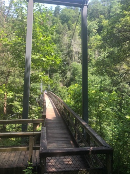 Looking across suspension bridge at Tallulah Gorge State Park in Georgia
