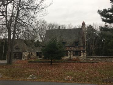 French Romanesque style Gate Lodge made of stone, Jordon Pond, Acadia National Park, Maine