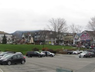 View of Bar Harbor Village, Maine from the town parking lot