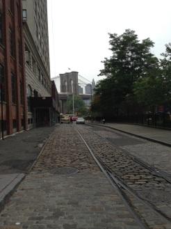 View of the Brooklyn Bridge from Cobblestone Street of Brooklyn