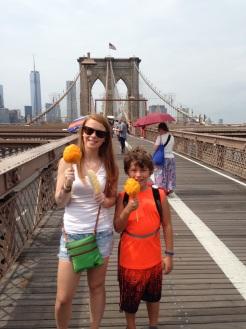 Kids Enjoying Mango on the Brooklyn Bridge