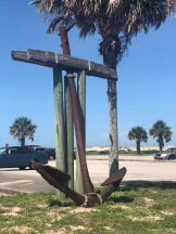 Large Boat Anchor standing on display at Anastasia State Park, Florida
