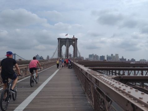 Pedestrians and bicyclists on the Brooklyn Bridge, NYC